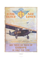 Aviation Art Poster: KLM - ROYAL DUTCH AIR LINES, 1928