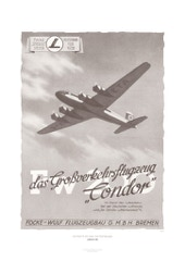 Aviation Art Poster: FOCKE-WULF FW 200 CONDOR - FOCKE-WULF FLUGZEUGBAU, GERMANY 1938