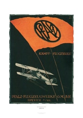 Aviation Art Poster: PFALZ-FLUGZEUGWERKE SPEYER, GERMANY 1914